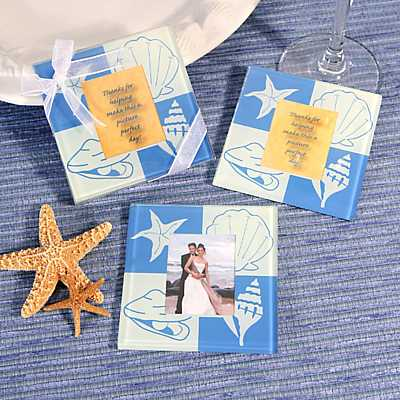 Photo Coasters Wedding Favors on Beach Glass Photo Coasters   Beach Items