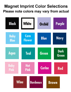 Personalized Magnets Color Chart
