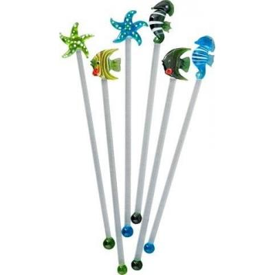 Sealife Glass Swizzle Stirrers