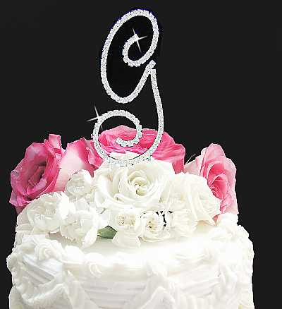 Crystal Initial Cake Topper