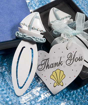 These resin sailboat bookmarks are great for beach wedding favors