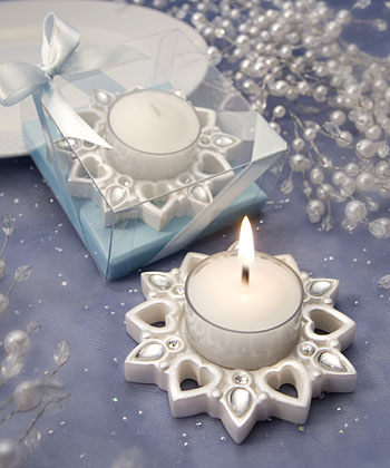 Snowflake and Heart Candle Favor