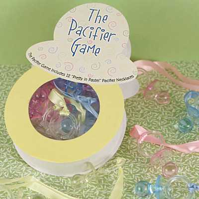 know which games to play at your baby shower pacifier baby shower game