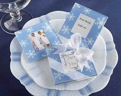 Glass Coaster Wedding Favors on Snowflake Glass Photo Coasters